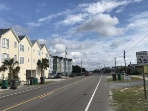 Street view of vacation homes in Topsail Island, NC